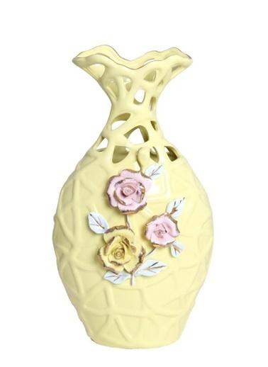 Herevin Porselen Dekoratif Vazo Sarı Sarı